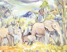 Kort med maleri av en elefantfamilie som er ute og går. Bilde.