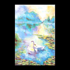 Kort med maleri av et svanepar på et tjern med vannliljer. Bilde.