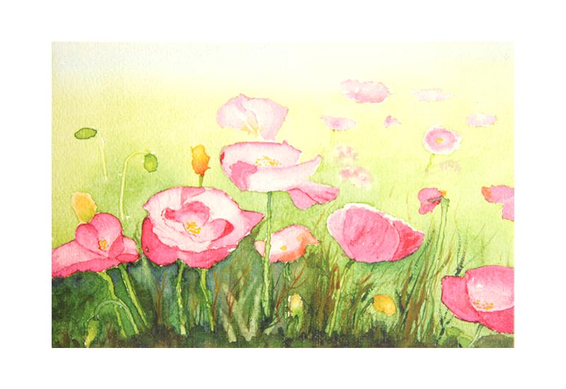 Kort med maleri av rosa valmuer i en eng. Bilde.