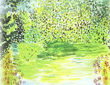 Kort med maleri av et skogstjern. Bilde.