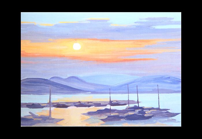 Kort med maleri av en havn med båter i solnedgang. Bilde.