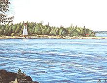 Kort med maleri av et kystlandskap med et fyrtårn. Bilde.