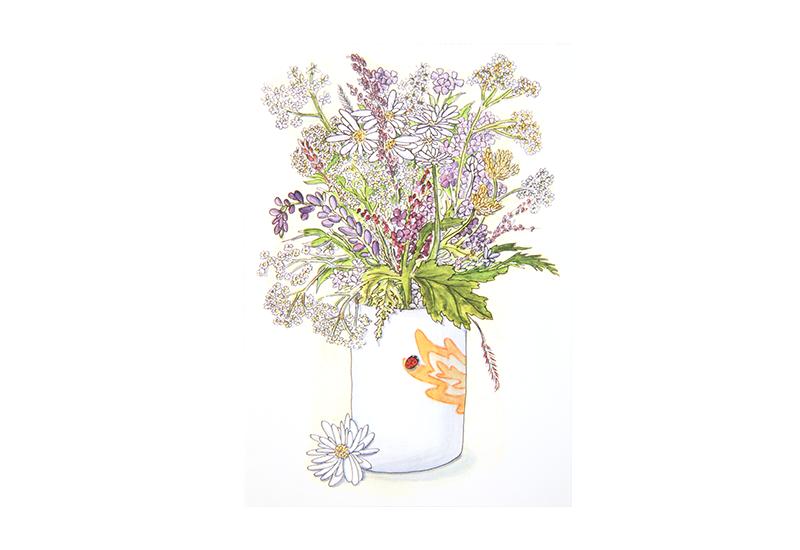 Kort med maleri av en vase med sommerblomster. Bilde.