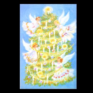 Kort med maleri av et lysende juletre og engler som pynter det. Bilde.
