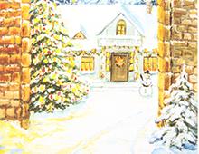 Kort med en murportal hvor du ser et julepyntet hus, dekket ev sne med et juletre utenfor. Bilde.