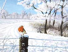 Kort med maleri av en liten fugl som sitter på et gjerde i vinterlandskap. Bilde.