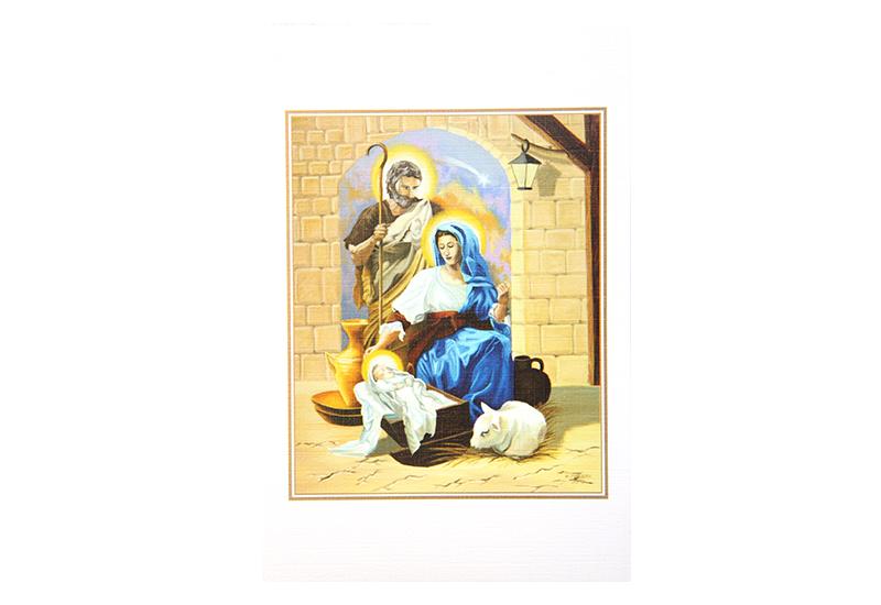 Kort med maleri av Jesusbarnet i krybben med Josef, Maria og et lam rundt. Bilde.