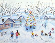 Kort med maleri av noen hus og trær og et stort, pyntet juletre. Barn leker i sneen. Bilde.
