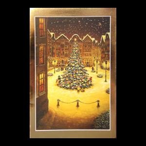 Kort med maleri av et stort pyntet juletre på en plass i en by. Ramme i gull. Bilde.
