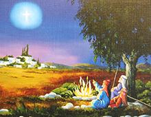 Kort med maleri av de tre vise menn som sitter ved et bål og peker på julestjernen. Bilde.