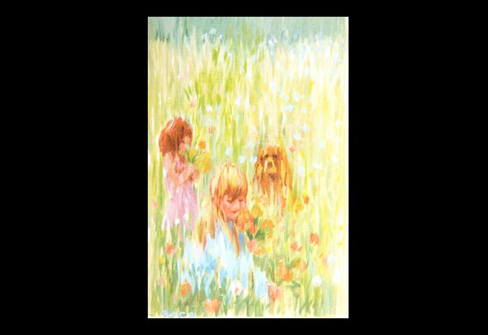 Kort med maleri av en hund og to barn som plukker blomster i en eng. Bilde.