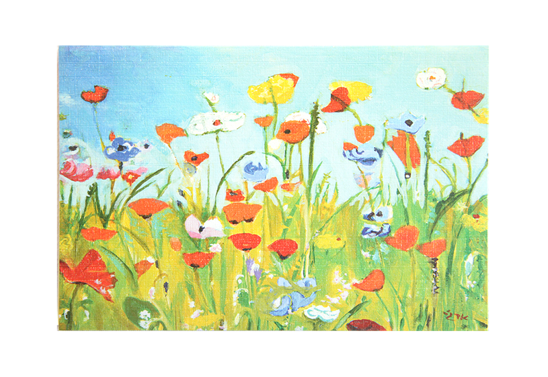 Kort med maleri av en blomstereng med valmuer. Bilde.