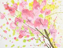 Kort med akvarell av en kvist med rosa blomster. Bilde.
