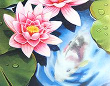 Kort med maleri av to rosa vannliljer og en karpe man skimter under vannflaten. Bilde.