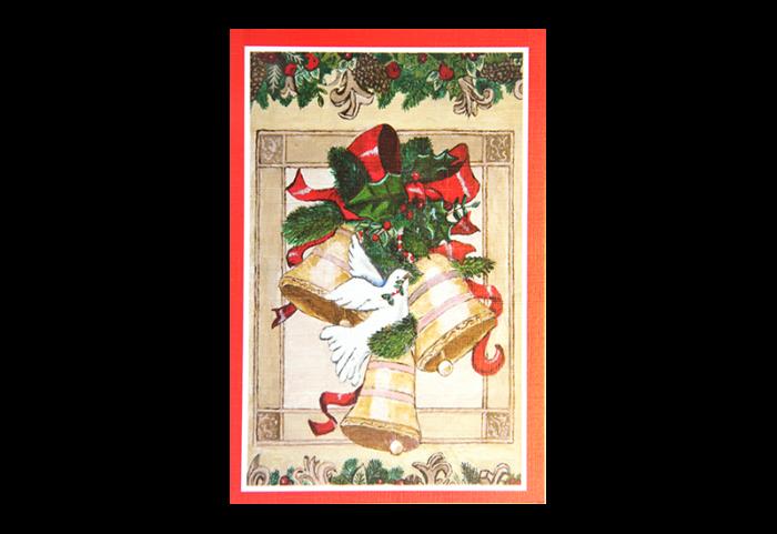 Kort med maleri av julebjeller med rød sløyfe, grankvister og en due med en kvist i nebbet. Bilde.