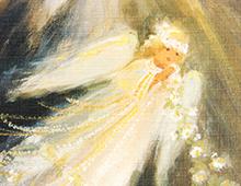 Kort med maelri av en engel som flyr med en lysende blomsterkrans og et lys bak. Bilde.