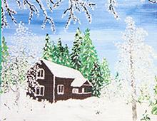 Kort med maleri av et hus i snølandskap. Bilde.