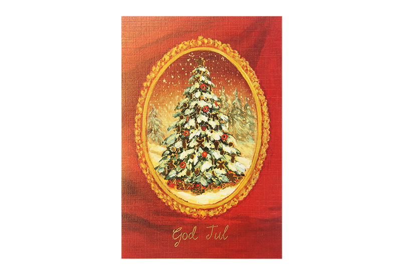 Kort med maleri av et pyntet juletre med gammeldags gullramme rundt på rød bakgrunn. God jul står skrevet med løkkeskrift under. Bilde.