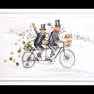 Kort med maleri av to feiere på en tandemsykkel i vinterlandskap. Bilde.