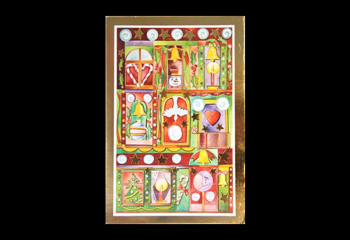 Kort med maleri av forskjellige julesymboler med gullramme. Bilde.