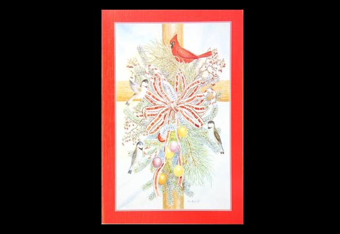 Kort med maleri av en juledekorasjon med sløyfe, gran, julekugler og fugler. Bilde.