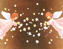Kort med maleri av to engler som samler stjerner. Bilde.