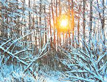 Kort med maleri av en bekk i en snedekket skog med solen som skinner mellom trærne og speiles i bekken. Bilde.