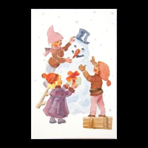 Kort med maleri av tre barn som lager en snømann. Bilde.