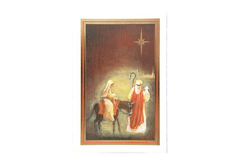 Kort med maleri av Josef og Maria og Betlehemsstjernen. Bilde.