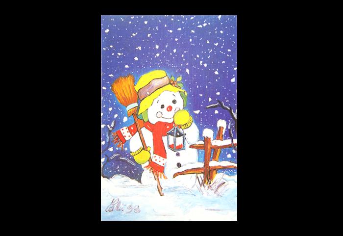 Kort med maleri av en snømann med hatt, votter, kost og lykt. Bilde.