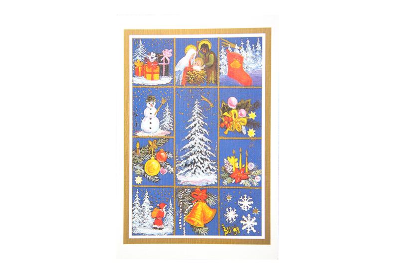 Kort med maleri av forskjellige julemotiver idelt opp i felter. Snedekket tre i midten, rundt om finnes julesokk, julepynt, nisse, snekrystaller, snemann, bjeller, Jesusbarnet med Josef og Maria, julekuler og gaver. Bilde.