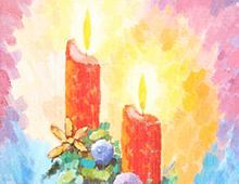 Kort med maleri av to røde stearinlys som brenner. Under er det pyntet med granbar, stjerner og kuler. Bilde.