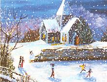 Kort med maleri av en kirke med lys i b´vinduene midtvinters i snøvær. Rundt ser vi barn som leker og folk på vei til kirken. Bilde.