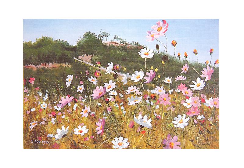 Kort med maleri av en eng med rosa og hvite blomster. Bilde.