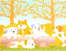 Kort med maleri av fem valper som leker på en benk med noen trær bak. Leken stil, lyse farger. Bilde.