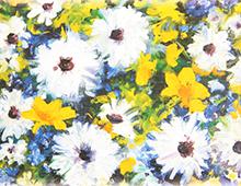 Kort med maleri av hvite, gule og blå blomster. Bilde.