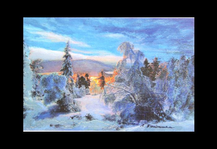 Kort med motiv av en snedekket skog i solnedgang. Bilde.