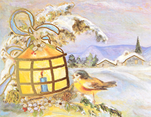 Kort med motiv av en liten fugl som varmer seg ved en lykt i vinterlandskap. Bilde.