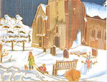Kort med motiv av en kirke i vinterlandskap. Foran sees en snemann og et barn som blir trukket på akebrett. Bilde.