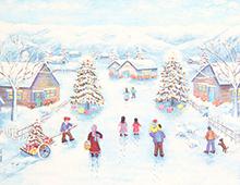 Kort med vintermotiv av en vei med mennesker på vei til å feire jul. Vi ser også to pyntede juletrær med gaver under. Bilde.