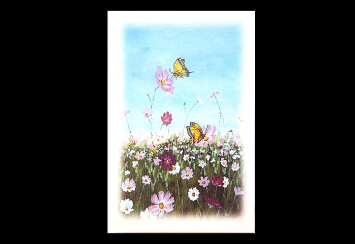 Kort med motiv av en sommereng med rosa og hvite blomster og to sommerfugler. Bilde.