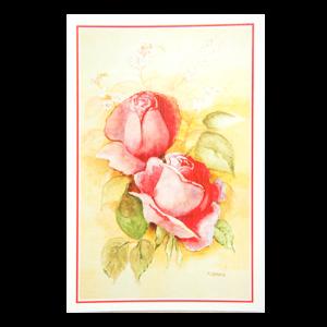 Kort med motiv av to røde roser. Tynn, rød ramme. Bilde.
