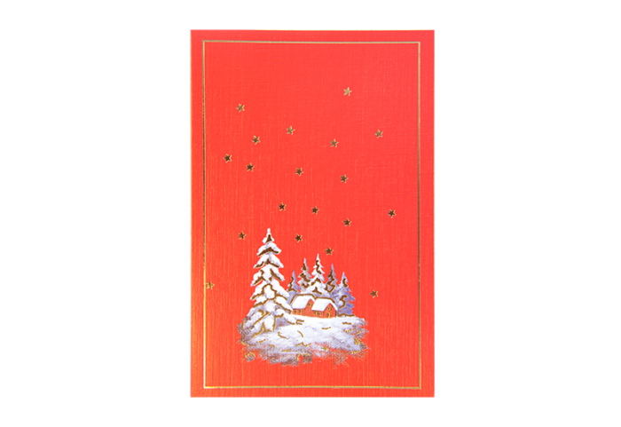 Rødt kort med smal gullramme og motiv av snedekkede hytter i skogen. Gullstjerner. Bilde.