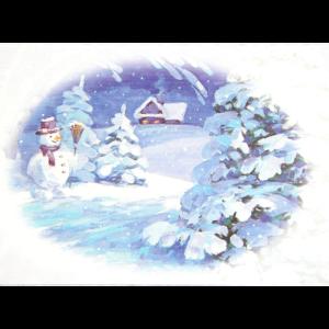 Kort med motiv i gammeldags, oval ramme. Sneddekket landskap med trær, hytte og en snemann. Bilde.