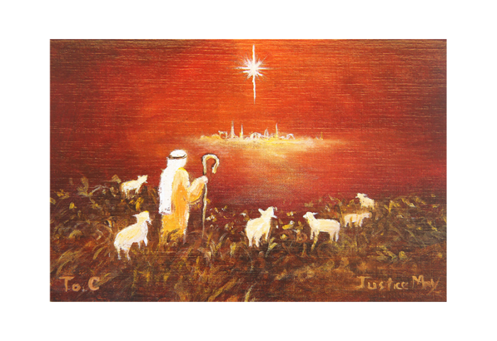 Kort med motiv av en hyrde som ser på julestjernen over Betlehem. Bilde.
