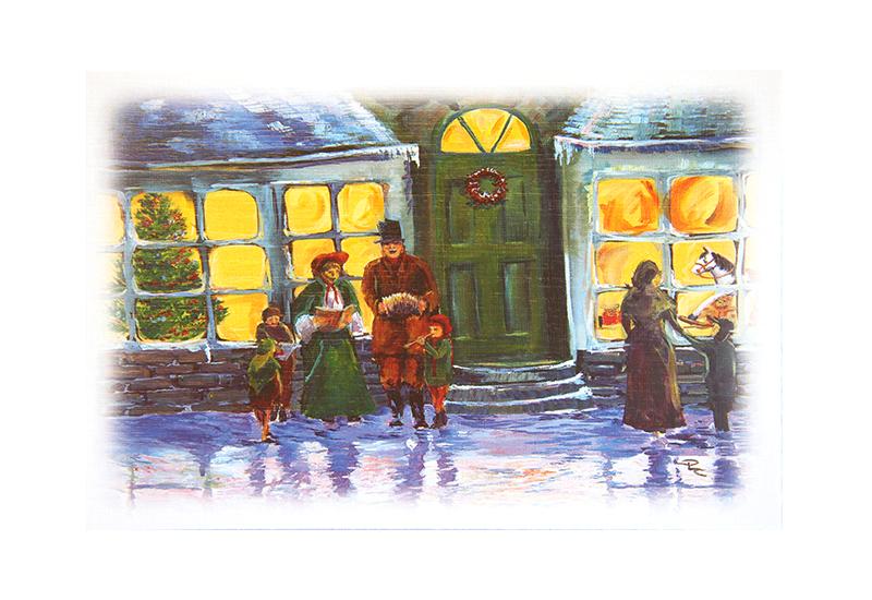 Kort med motiv av en familie utenfor en butikk ved juletider i gamledager. Døren har en krans, far i familien har på flosshatt. En gyngehest og et juletre sees i butikkvinduet. Bilde.
