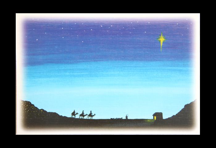 Kort med motiv av de tre vise menn som følger julestjernen mot stallen. Bilde.