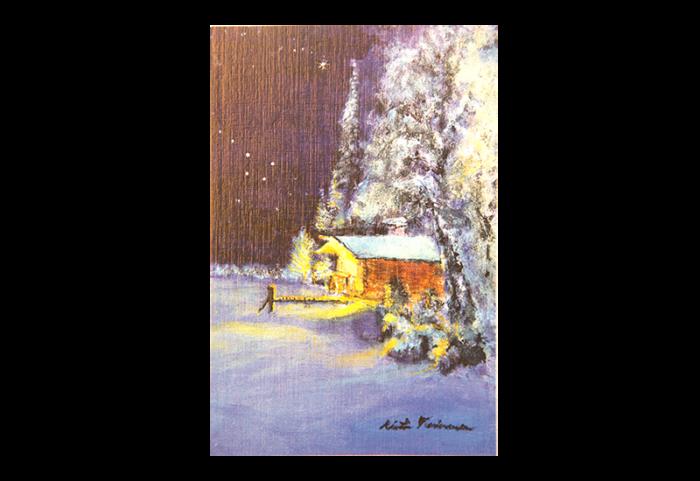 Kort med motiv av en tømmerhytte i skogen på vinterstid. Bilde.