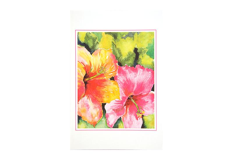 Kort med motiv av akvarell med nærbilde av to rosa blomster. Bilde.