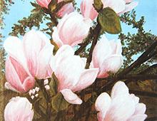 Kort med motiv av lyserosa blomster. Bilde.